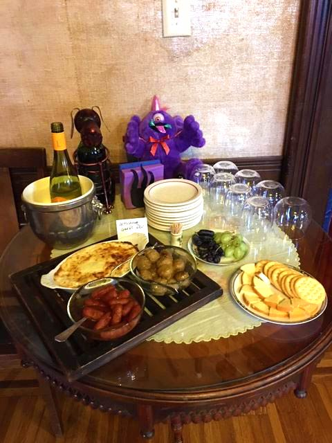 wine and snacks  at our Minnesota B&B