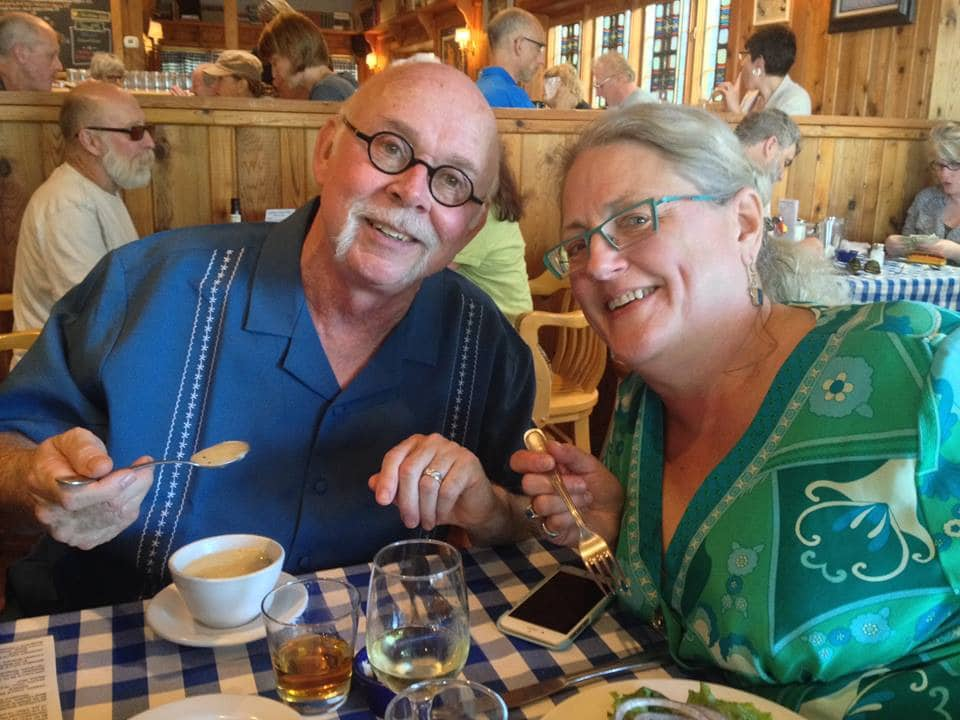 Mike & Chris, innkeepers at Moondance Inn Bed & Breakfast, enjoying a meal